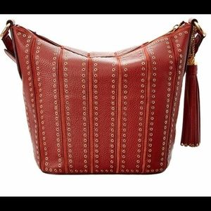 MK Brooklyn Grommet Brick Leather Shoulder Bag